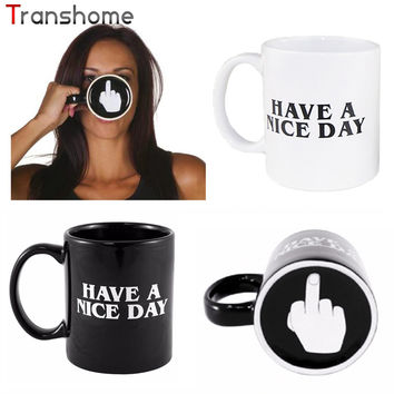 Creative Have a Nice Day Ceramic Coffee Cup Funny Middle Finger Cups And Mugs For Coffee Tea Milk Novelty Gifts 350ml Transhome