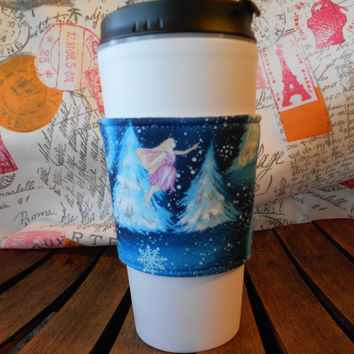 Blue and Pink Fairy Coffee Cozy , Reusable Coffee Cup cozy , Travel Mug Cozy , Coffee Cozy Sleeve