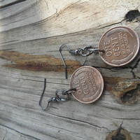 Coin earrings. Wheat penny earrings. Recycled coin dangle earrings.