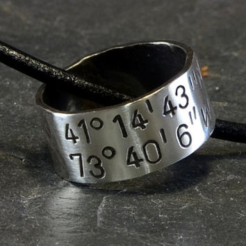Latitude Longitude Sterling Silver Ring Necklace with Personalized Coordinates