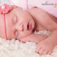 Crochet Flower Headband Tie-on Adjustable Hair-Tie Newborn to Toddler-- Available in 23 different colors-Spring Newborn Photo Prop Girl