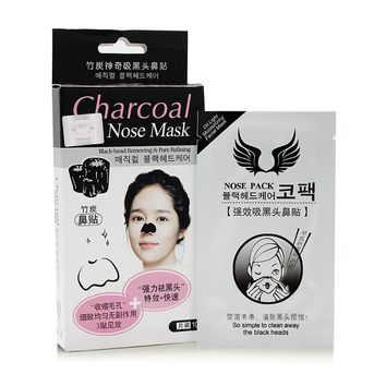 10pcs / Box Blackhead Strong Cleaner Moderate Bamboo Charcoal Nose Face Mask Strips Cleansing Pore Peel Off Pack Minerals Conk