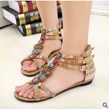 SUMMER STYLE Free shipping 2015 Flat Sandals Ankle T-strap Fashion Trend Sandals Bohemia Nation Flat Beaded sandals Hot sale