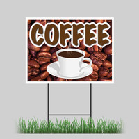 "12""x18"" Coffee Yard Sign Espresso Shop Cafe Beans Retail Store Sign"