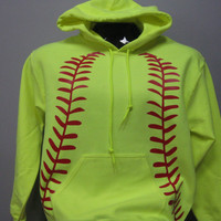 Neon Yellow Red Softball Graphic Hoodie Sweatshirt Adult Safety Green