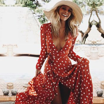 Women Dress Boho Sexy V Neck Polka Dot Printed Long Sleeve Beach Party Long Maxi Dress