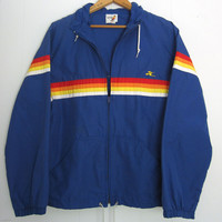 Vtg 80s 90s Hobie Blue Rainbow Striped Surf Hood Track Jacket Windbreaker S XS