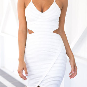 White Spaghetti Strap Stripe Wrap Cut Out Dress