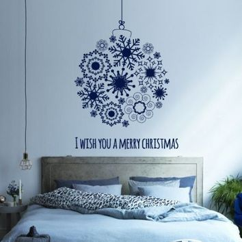 Merry Christmas Wall Decal Decor Decals Sign Lettering Toy Ball Window Snow Snowflake New Year Happiness Family Office Bedroom (M1382)