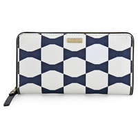 Kate Spade Bow Tile Lacey Blue and White Vinyl Wallet PWRU3669-420