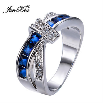 New Fashion Blue Sapphire Female Ring White Gold Filled Jewelry Crossed Wedding Rings Engagement Rings For Women RW0266