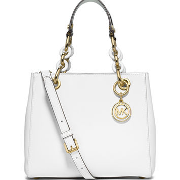 Cynthia Small Saffiano Satchel Bag, Optic White - MICHAEL Michael Kors