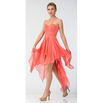 Multi Layer Chiffon Bridesmaid Dress Coral High Low Strapless