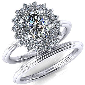 Eridanus Oval Moissanite 4 Prong Diamond Cluster Halo Engagement Ring
