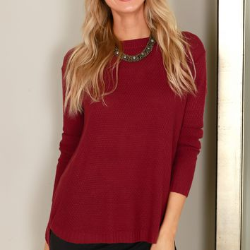 Classic Knit Sweater Dark Rose