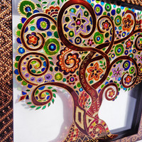 Tree of life art Glass painting Glass art