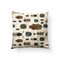 March Beetles, Insects, Bugs, Illustration Pattern // Spun Polyester Throw Pillow Case, Cover, With or Without Insert - Made in USA