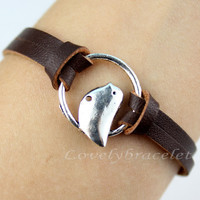 Bird bracelet in silver ring, imitation leather bracelets, fashion charm bracelet, friendly friends gifts