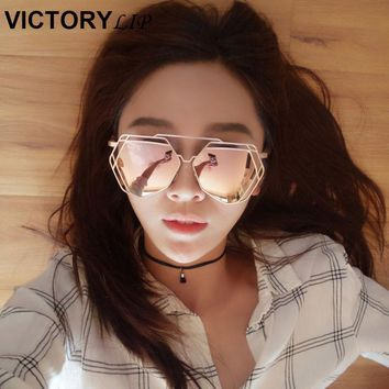 VictoryLip Brand Designer 2016 New Big Mirror Sunglasses Women Hexagon Lovers Hippie UV400 Pilot Hollow Out Sun Glasses