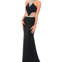 Precious Formals P10620 Jeweled Jersey Cut Out Prom Dress