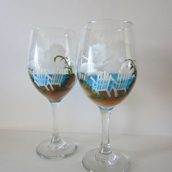 Hand Painted Beach Chair Wine Glasses