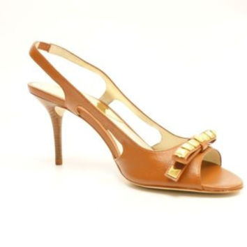 Michael Kors Livvy Sandal Women Brown Open Toe Leather Slingbacks Sandals Heels