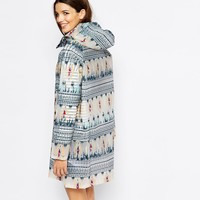 Only Aztec Print Rain Mac
