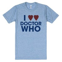 I Heart Heart Doctor Who-Unisex Athletic Blue T-Shirt