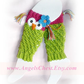 PDF Crochet Pattern Owl Leg Warmers or Leggings Sizes Newborn to Preteen No. 19