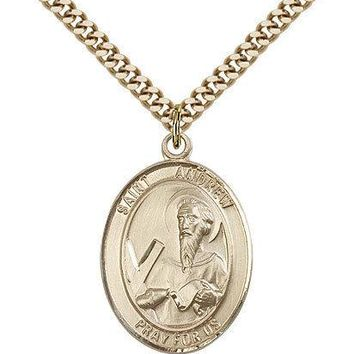 "Saint Andrew The Apostle Medal For Men - Gold Filled Necklace On 24"" Chain - ... 617759805765"