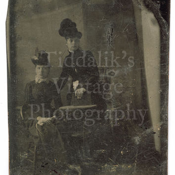 Tintype / Ferrotype Portrait of Two Victorian Women Wearing Hats Tin Type | eBay