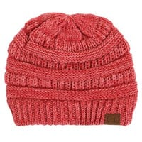 C.C. Exclusives Cable Knit Beanie in Coral YJ800-10