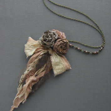 petite bouquet necklace - mocha rose - hand dyed