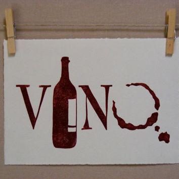 Wine  Vino  PRINT by WoodenSpoonEditions on Etsy