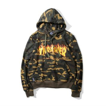THRASHER tide men flame sweater hoodie female street jacket long sleeve loose head