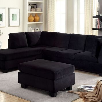 CM6316 2 pc lomma black flannelette fabric sectional sofa