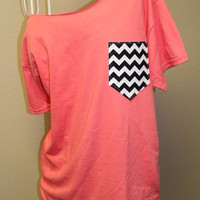 Cross Frocket Pocket Off-the-Shoulder Shirt Chevron Cheetah