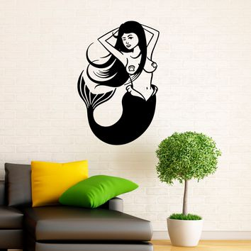Mermaid Wall Vinyl Decal Stickers Seamaid Interior Housewares Design Water Nymph Bedroom Home Wall Decor Made in US