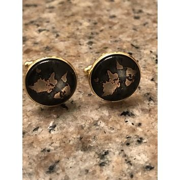 Brown and Gold World Map Cuff Links
