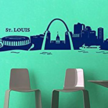 Wall Decal Vinyl Sticker Decals Art Decor Design City Skyline USA Map St. Louis Town Capital Bridge Sea Style Dorm Bedroom (r348)