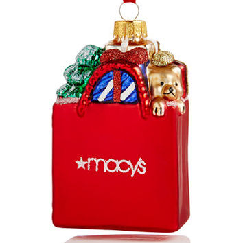 Holiday Lane Macy's Glass Shopping Bag Ornament, Created for Macy's | macys.com