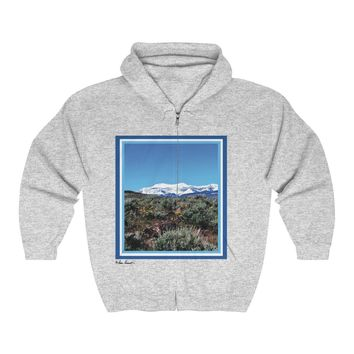 Hooded Sweatshirt with zipper: Mountain Snow design by PonsART $59.95+
