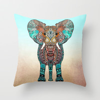 BOHO SUMMER ELEPHANT Throw Pillow by Monika Strigel