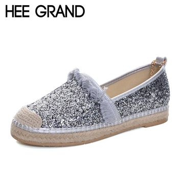 HEE GRAND 2017 Bling Bling Loafers Weave Straw Ballet Flats Fashion Fisherman Shoes Woman Slip On Comfort Women Shoes XWD6083