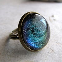 Northern Lights Ring in Antiqued Brass Color by AshleySpatula