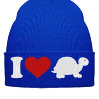 I LOVE TURTLE EMBROIDERY HAT - Beanie Cuffed Knit Cap