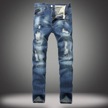 Ripped Holes Cotton Stretch Slim Jeans [164468555805]