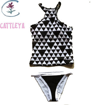 CATTLEYA 2017 Women High Neck Tankini Swimsuit Sexy Black Geometric Print Crop Top Padded Bikinis Push Up Swimwear Beachwear 7H