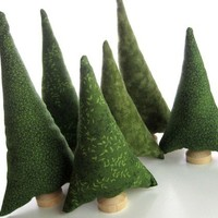 Evergreen Trees Tiny Forest - Natural Evergreen Pine tiny forest of 6 Christmas tree plush toy fabric trees