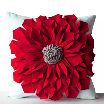 Felt Flower Pillow Cover -Red Gray White Pillow Case -Floral Decorative Pillow -Gift -16x16 -Anniversary -Wedding -Housewarming -Dorm Decor